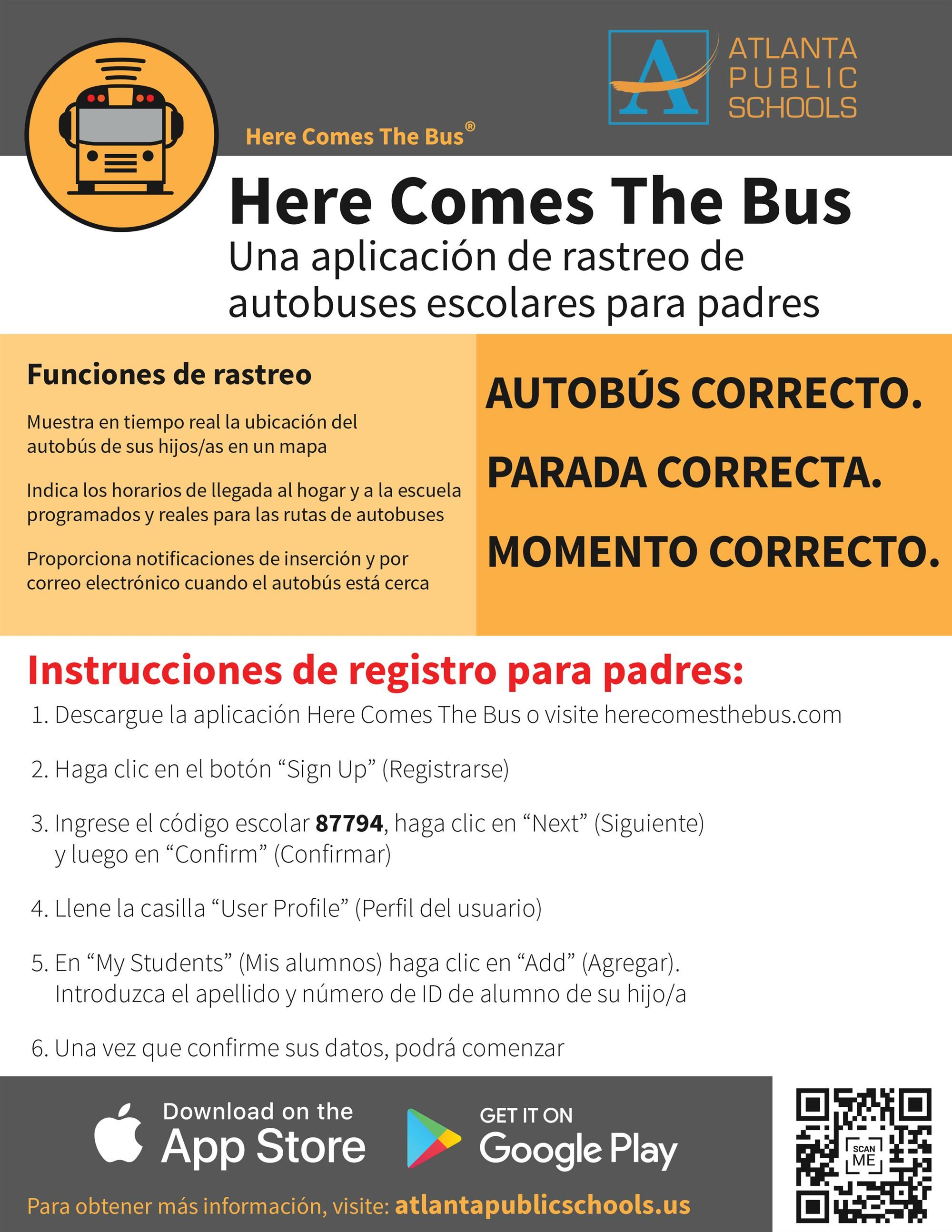 Here Comes the Bus Parent App SPANISH