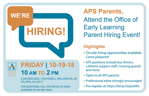 Attend the Office of Early Learning Parent Hiring Event!