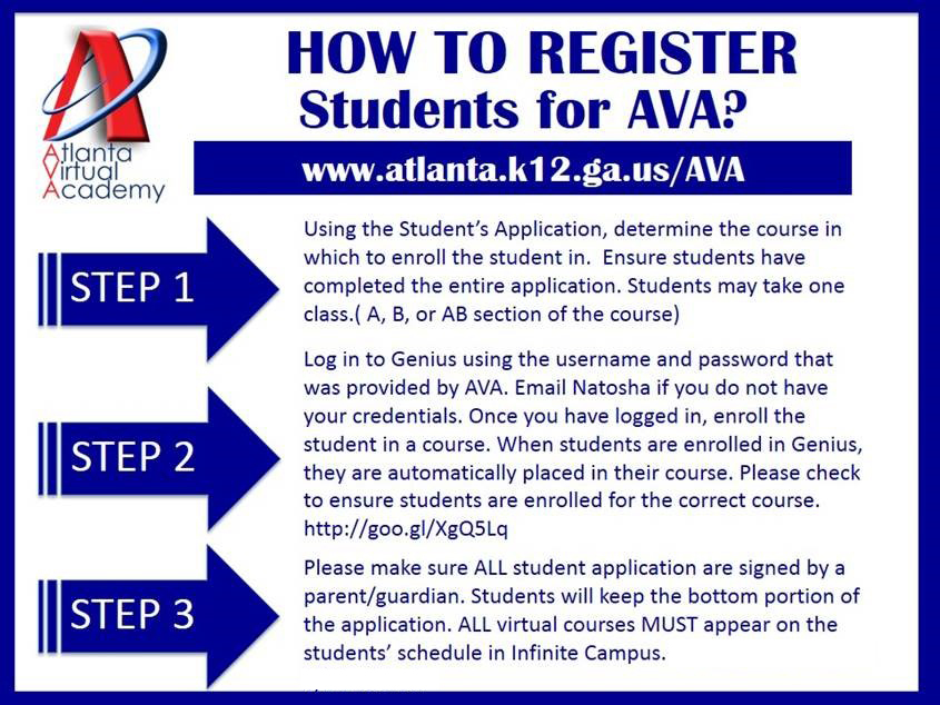 How to register students for AVA
