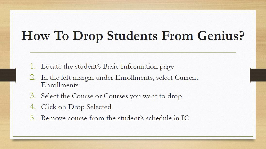Dropping students from courses