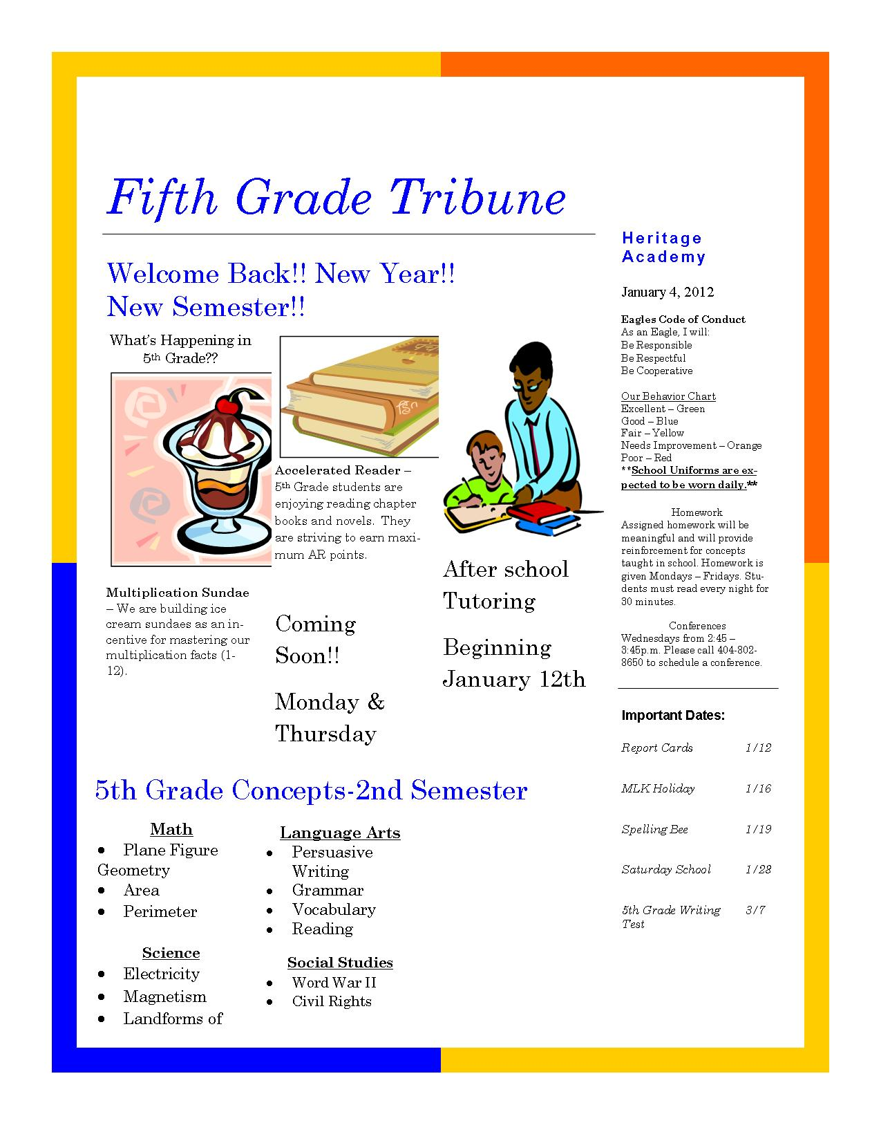 Ccs 5th grade math pacing chart picture images frompo for 5th grade newsletter template