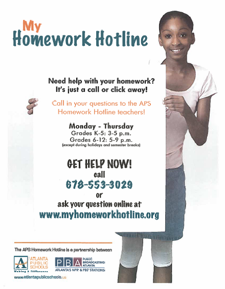 homework help hotline atlanta