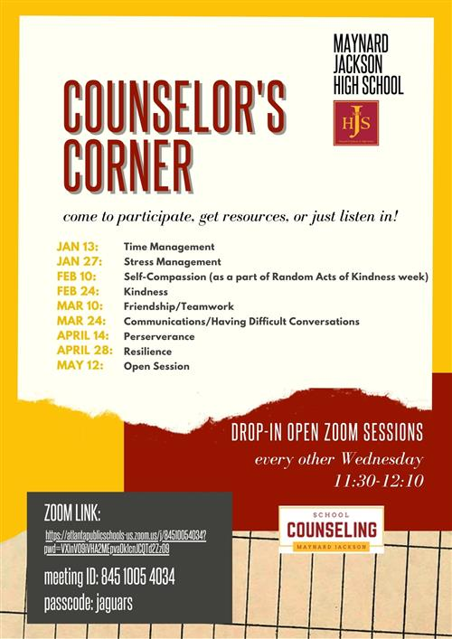 Counselors Corner Sessions