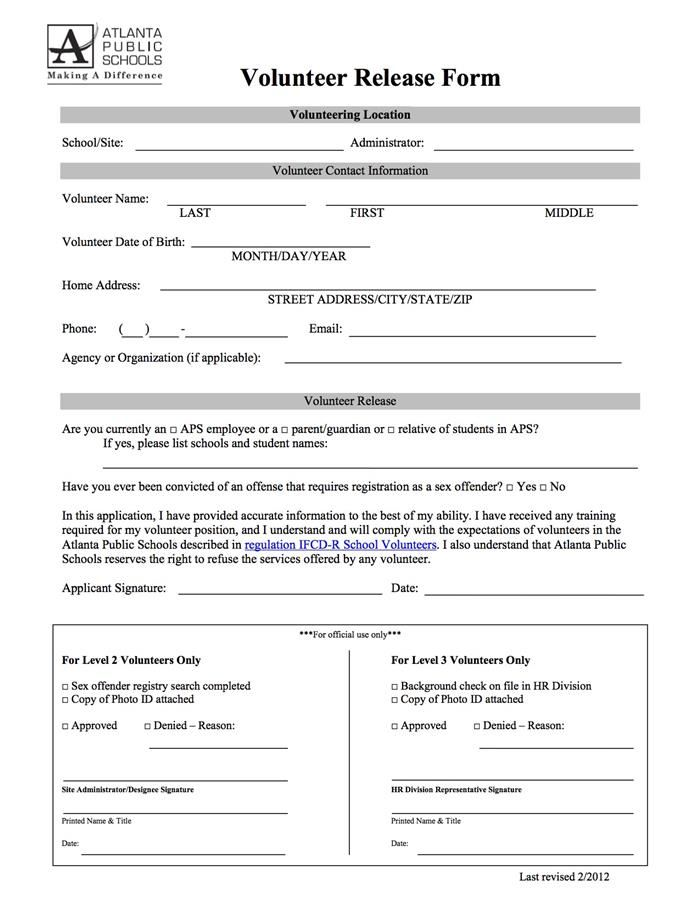 Volunteer Release Form