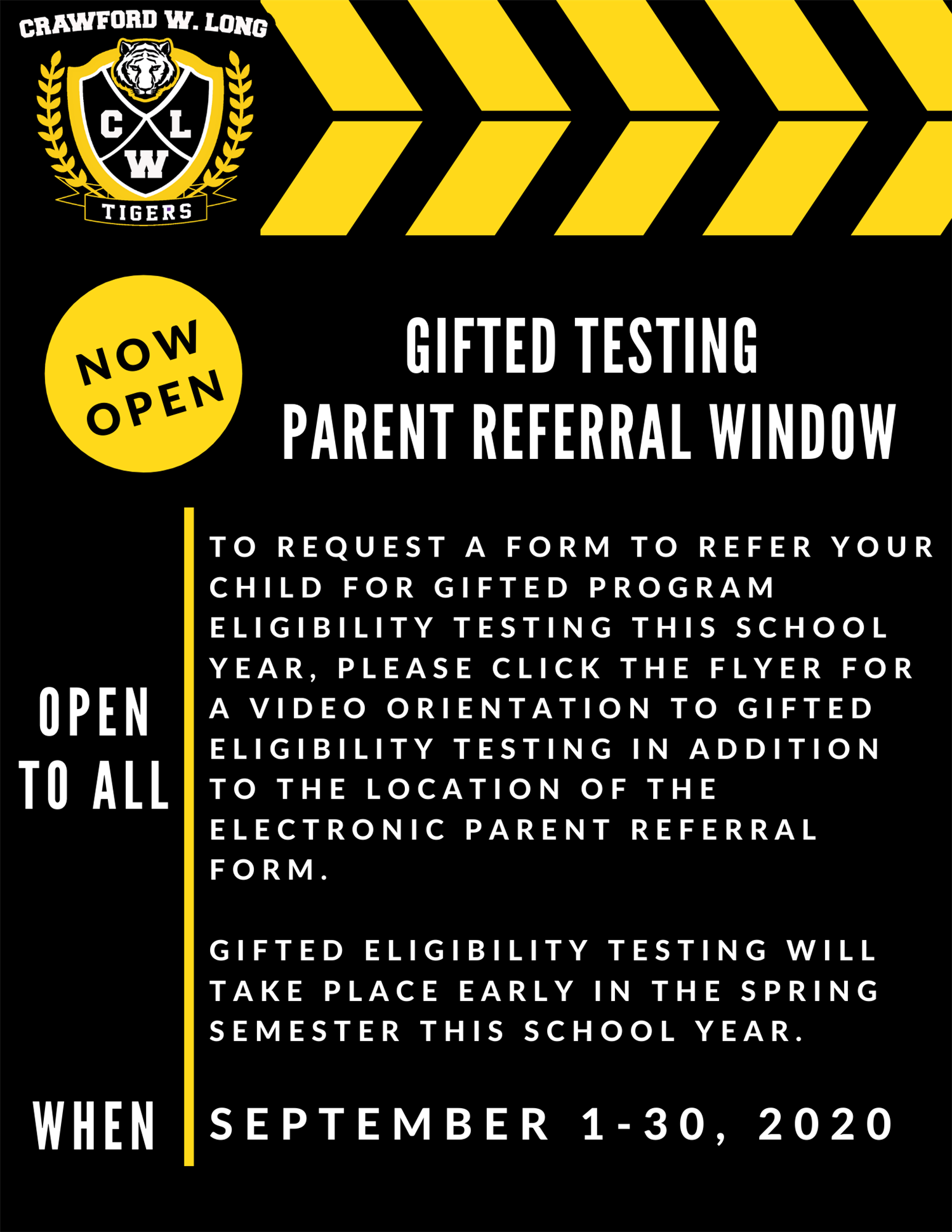 Gifted Testing Parent Referral Window