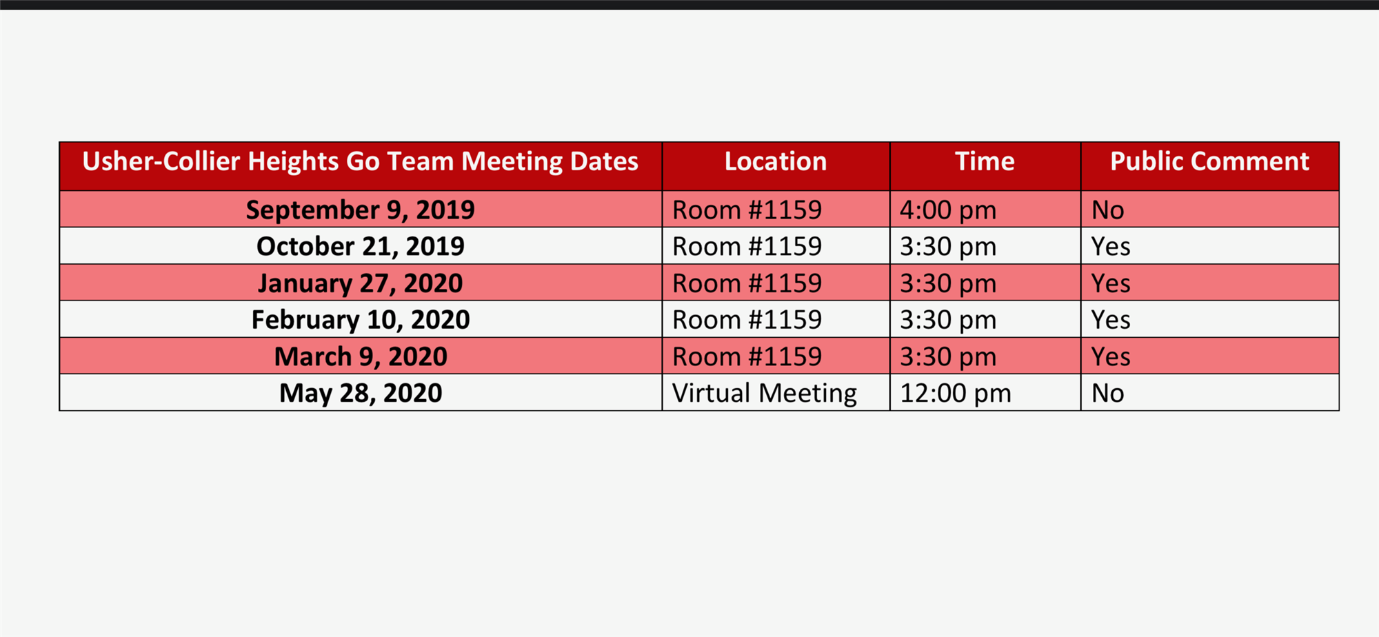 Usher-Collier Go Team Meeting Dates