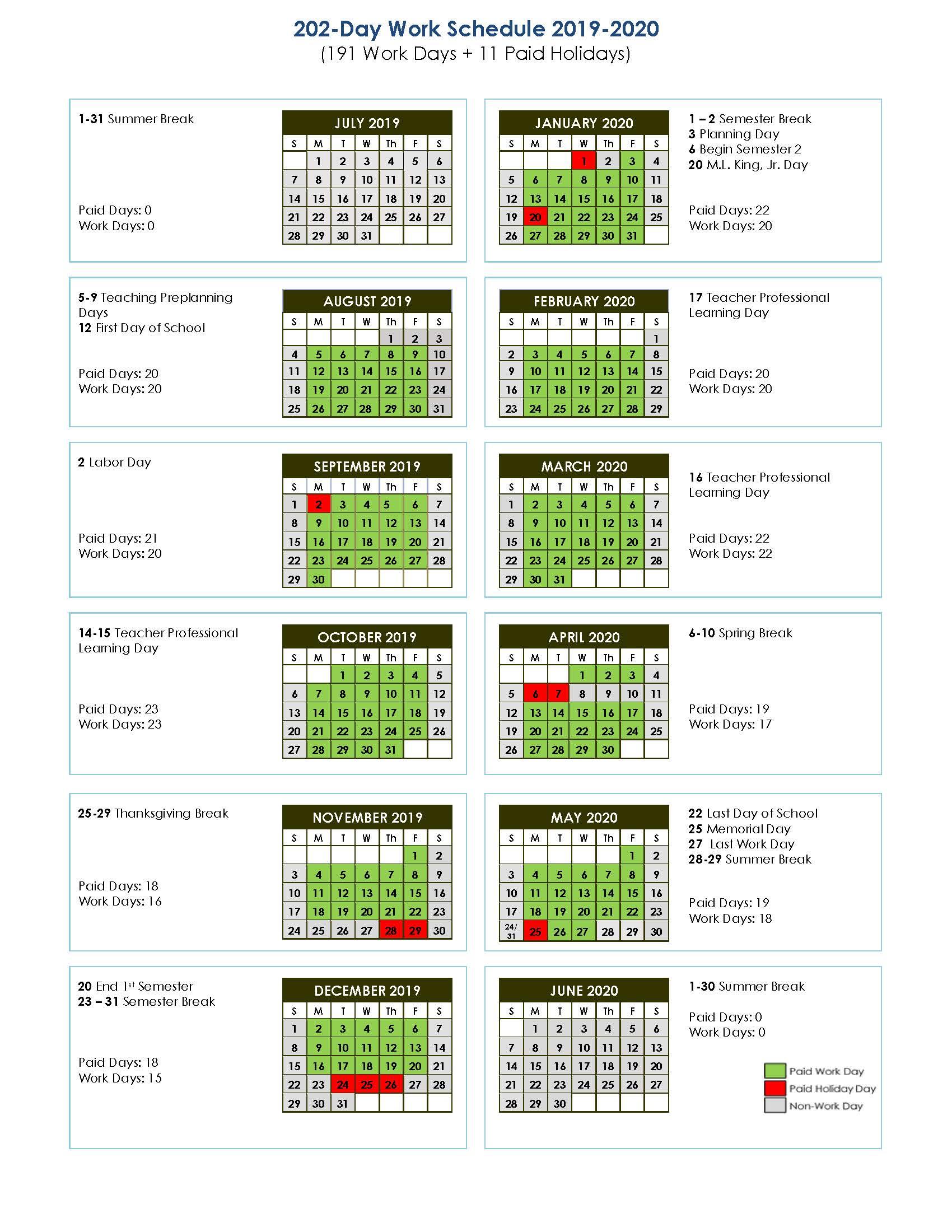 Aps Calendar 2020 Compensation / Employee Schedules