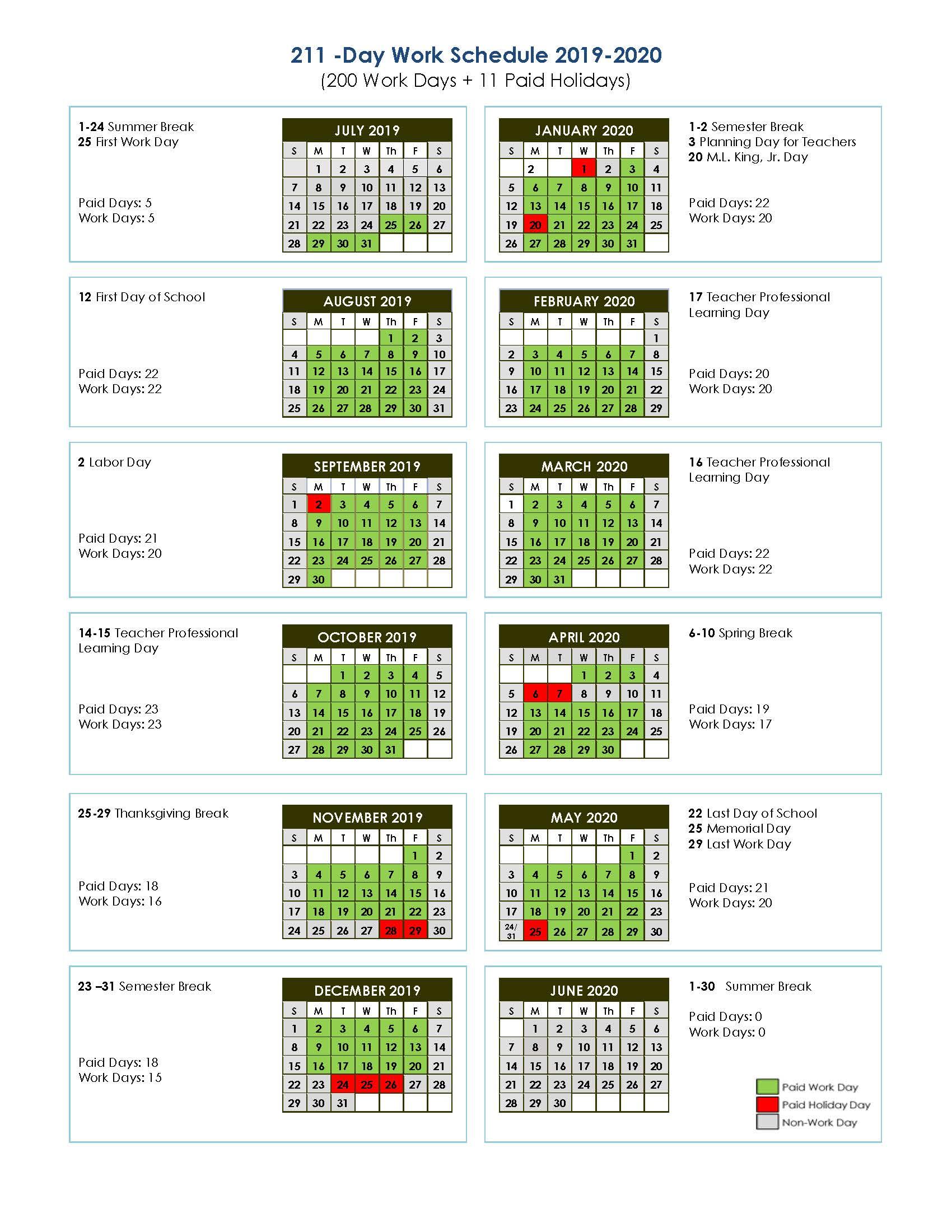 211-Day Work Schedule