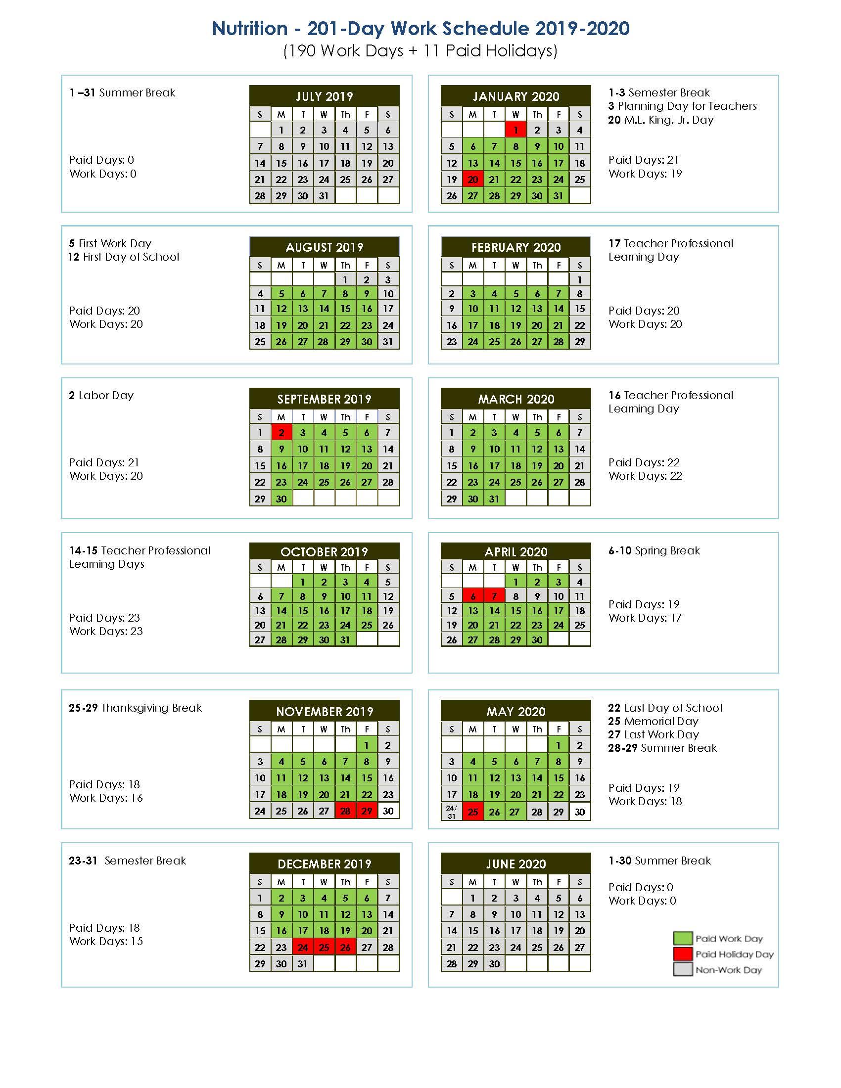 Nutruition 201-Day Work Schedule