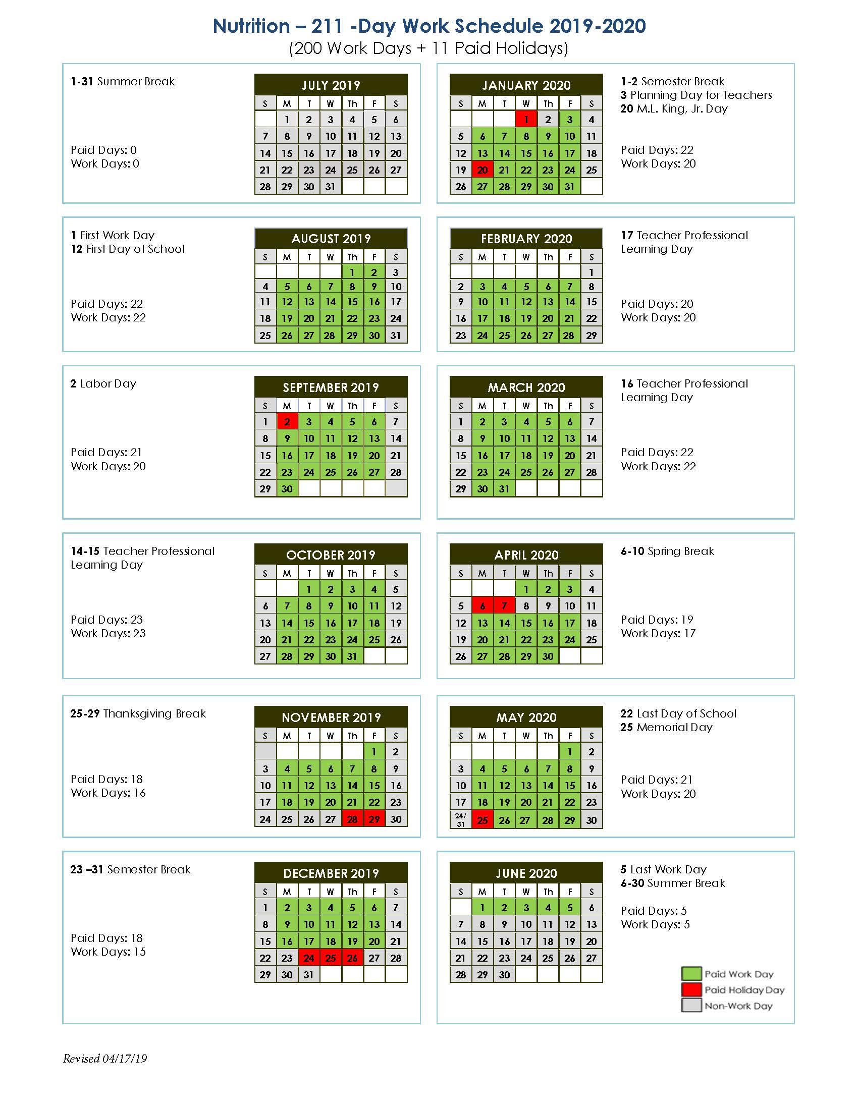 Nutrition 211-Day Work Schedule