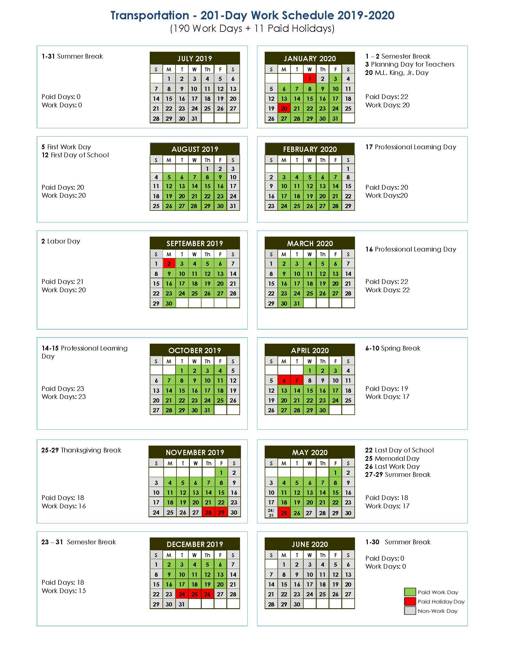 Transportation 201-Day Work Schedule