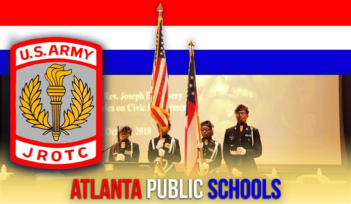 JROTC Banner featuring the U.S. Army JROTC crest and image of student cadets during  US pledge.