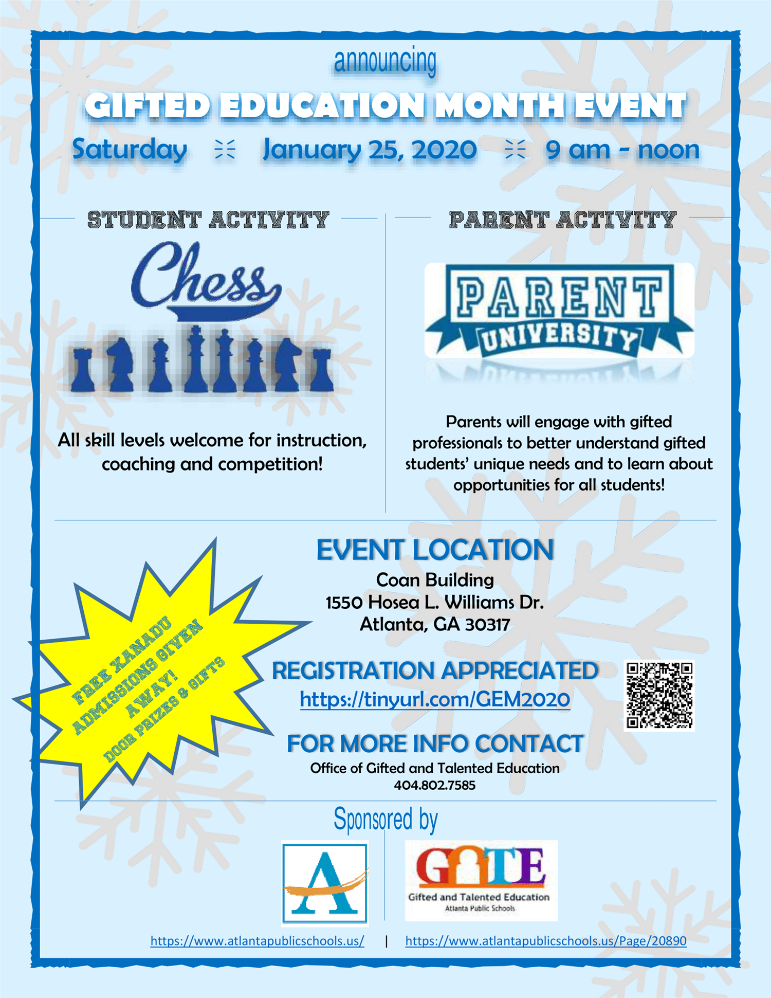 Gifted Education Month Event - Saturday, January 25, 2020
