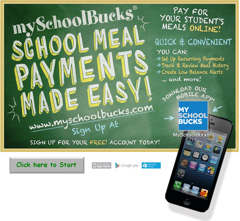 MySchoolBucks School Meal Payments Made Easy - Sign Up graphic.  Click the link here.