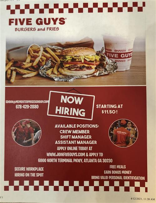 5 Guys Job Announcement