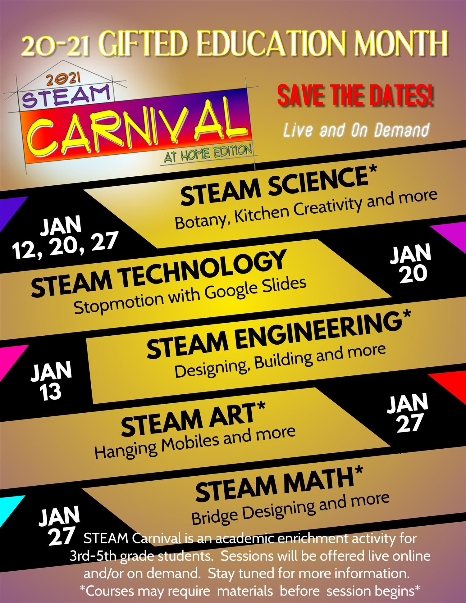 20-21 Steam Carnival Save the Date