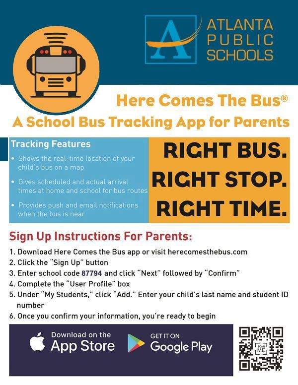 Sign up for Here Comes the Bus Mobile App