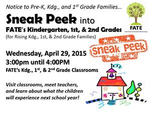Sneak Peek for Rising Kdg., 1st, and 2nd Grade Children