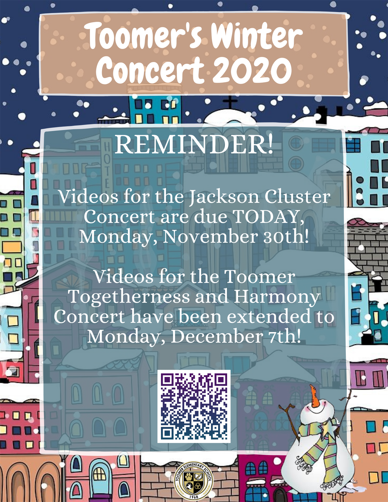 Winter Concert Updates