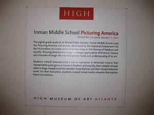 High Museum 8th grade Exhibit