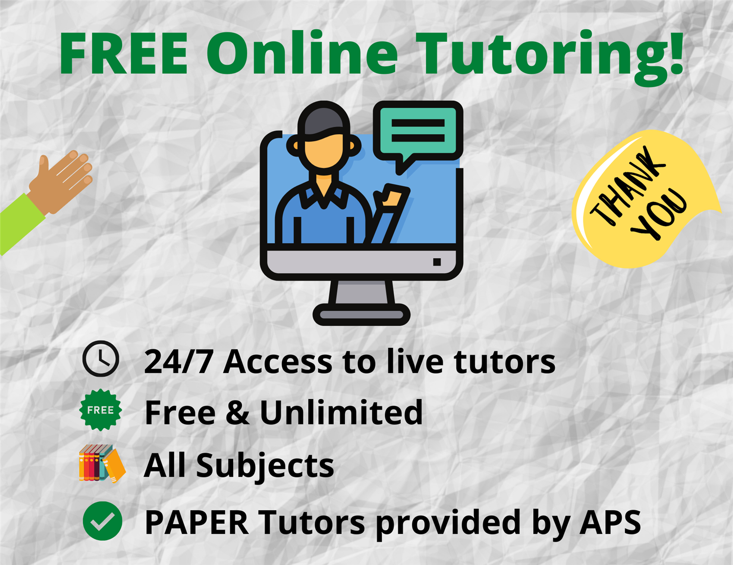 Free Online Tutoring via PAPER!