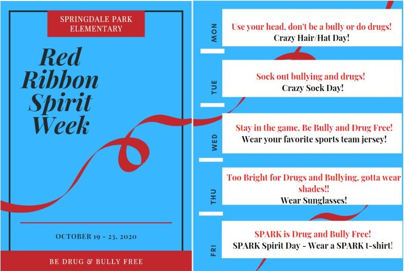 SPARK Red Ribbon Spirit Week - October 19th - 23rd