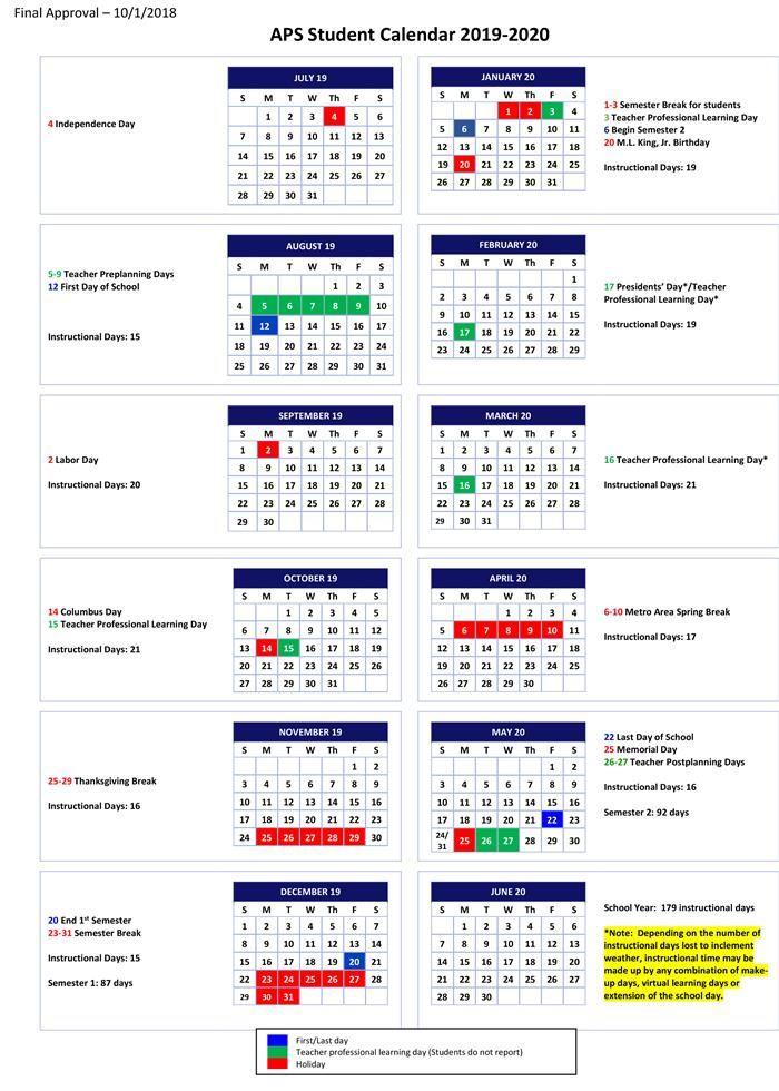 Atlanta Public Schools Calendar 2020 2019 2020 Student Calendar