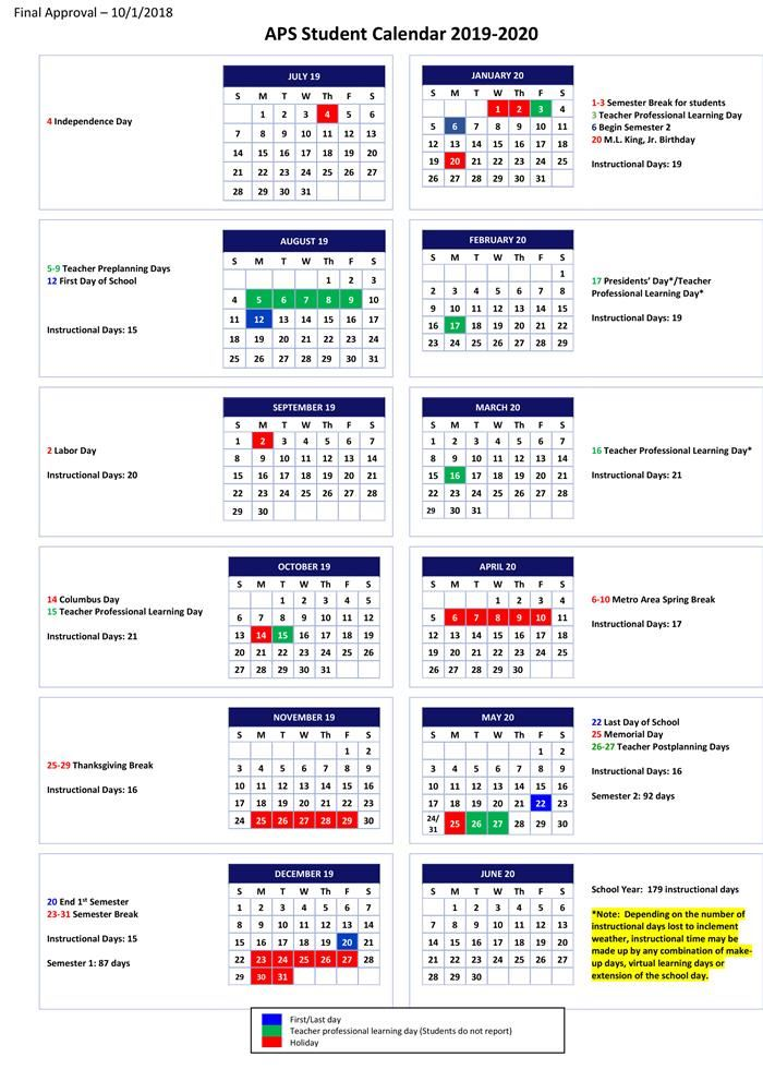 Aps School Calendar 2019 2019 2020 Student Calendar
