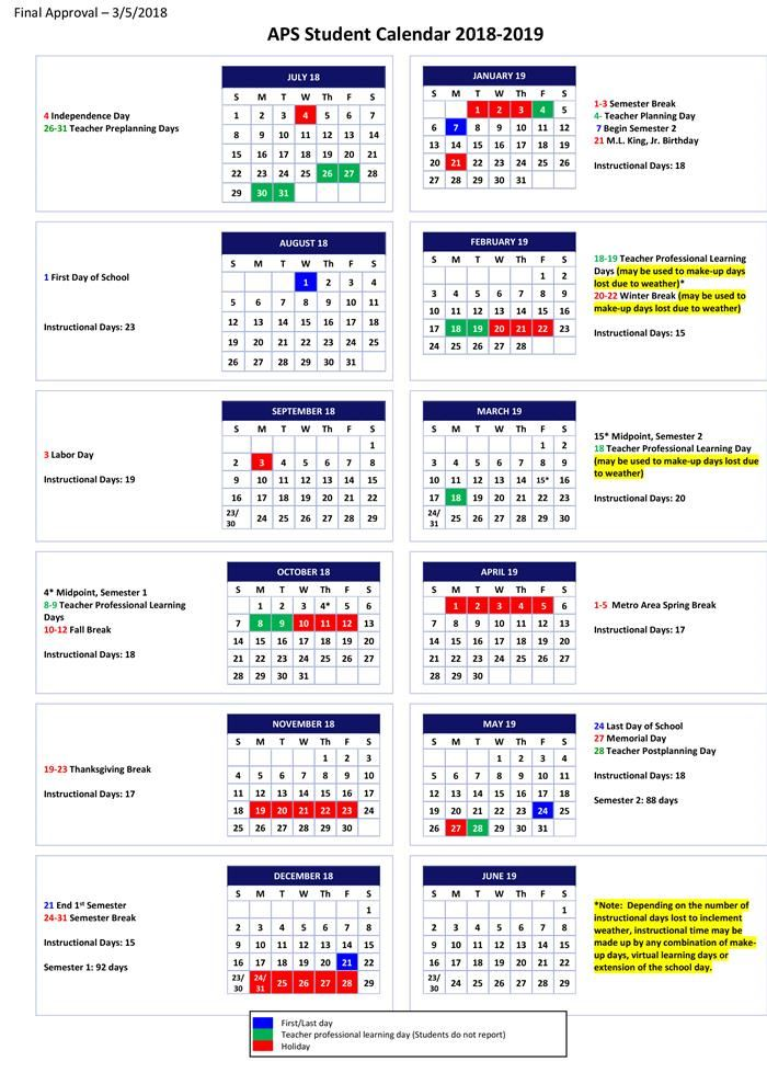 Aps School Calendar 2019 student calender   Koran.sticken.co