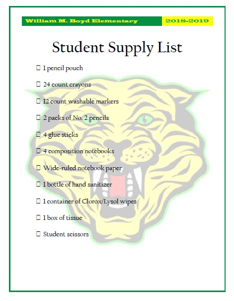Supply List 2018