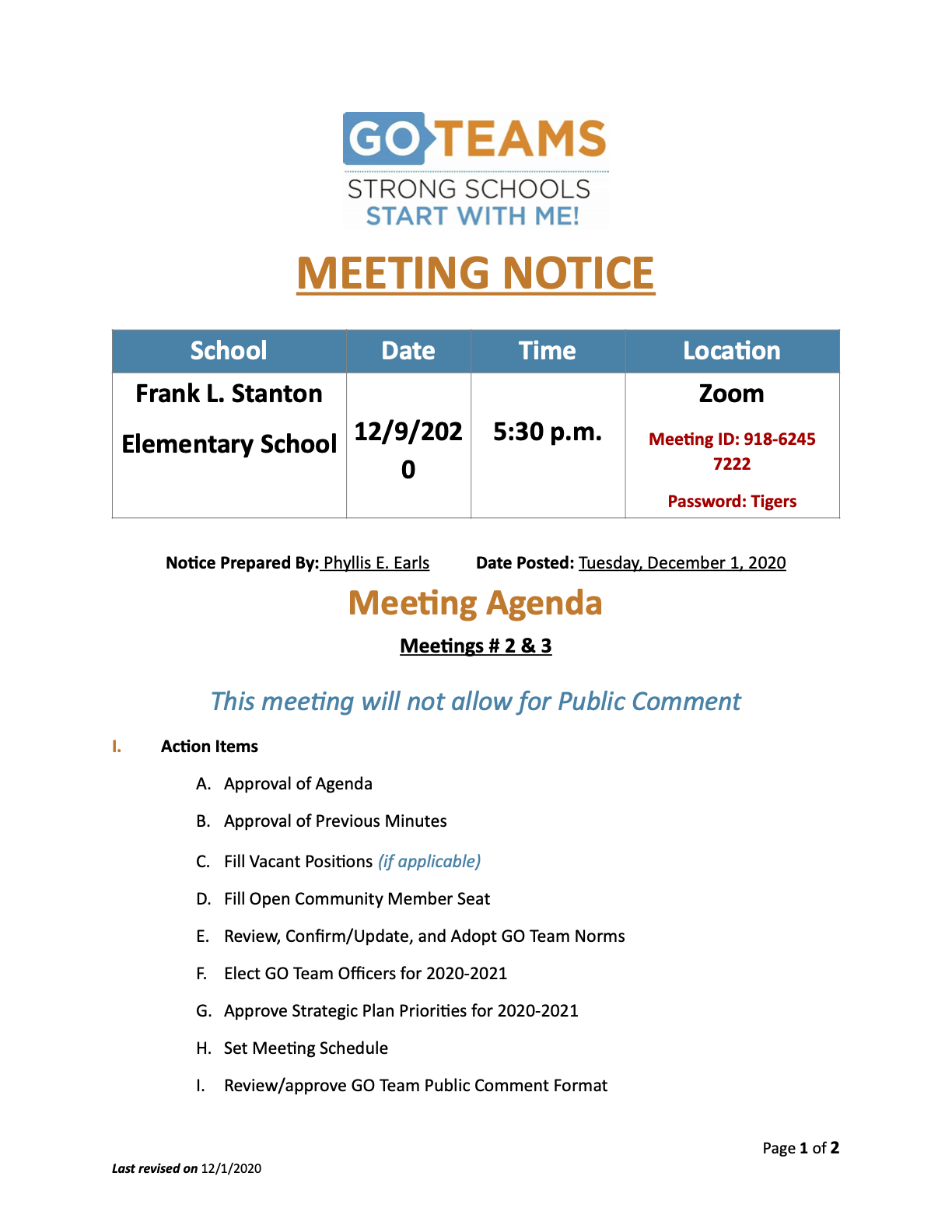 Go Team December Meeting  Notice