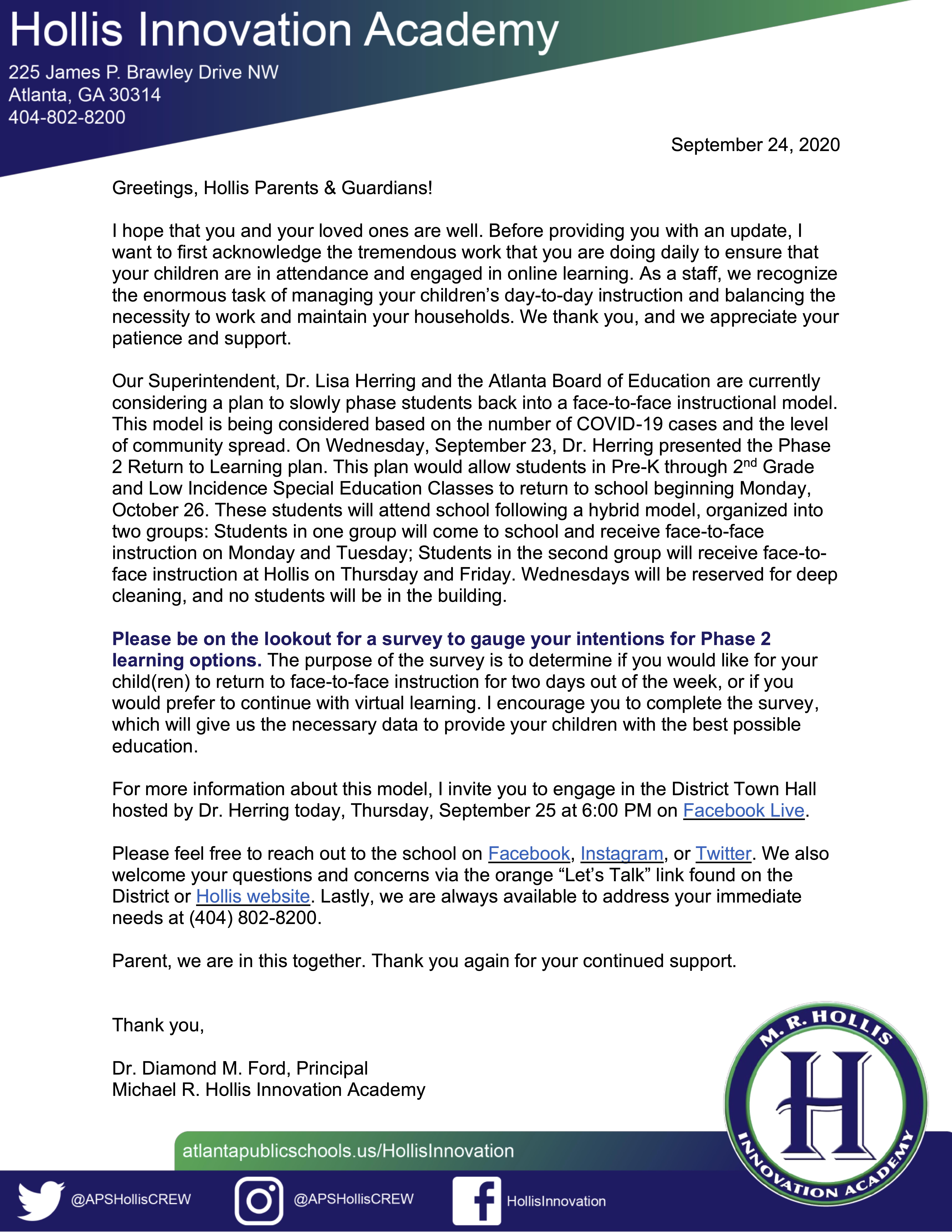 Letter from Dr. Ford, September 24, 2020