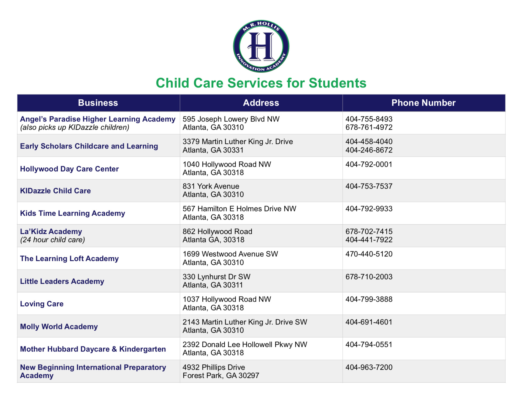 image for list of child care services