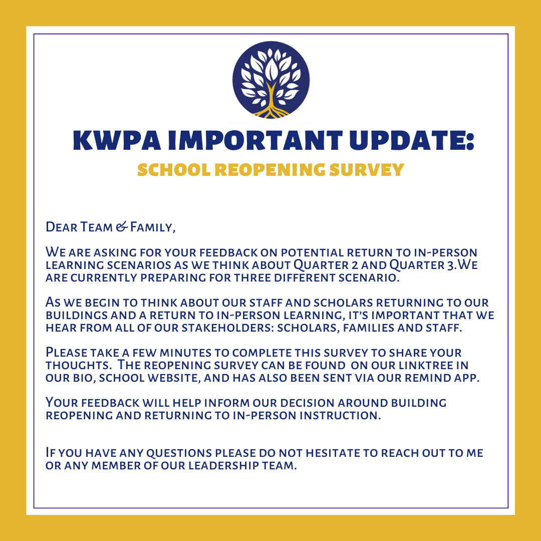 School Re-Opening Survey for KWPA Parents
