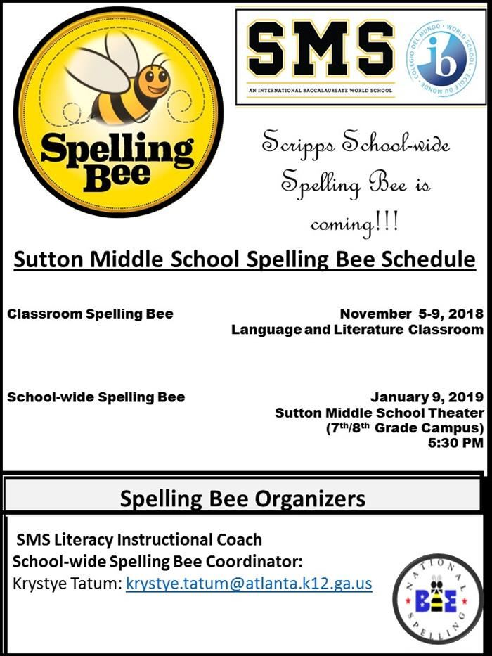 Sutton Middle School Spelling Bee Schedule for 2018-2019