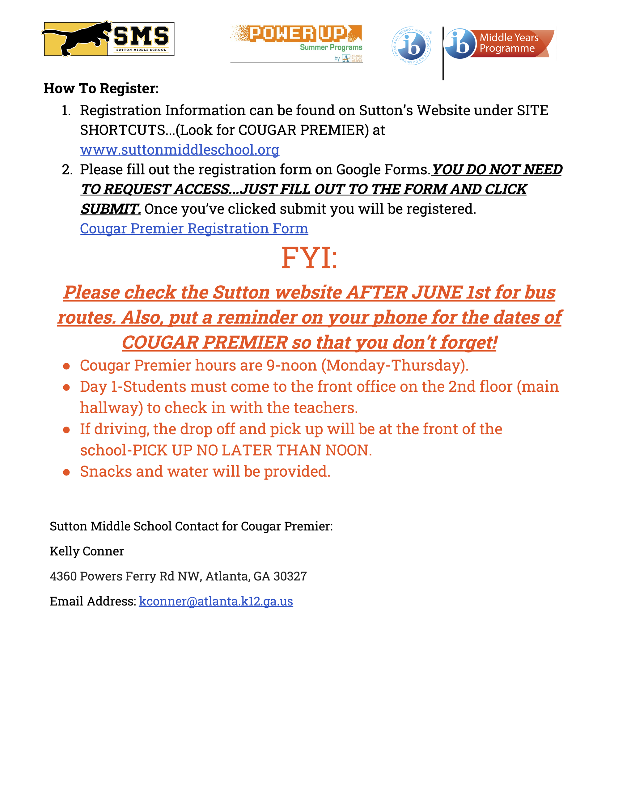 Sutton Cougar Premier Info Page 2 - contact main office for more info (404) 802-5650