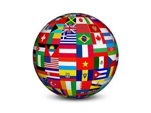 Globe made of various flags