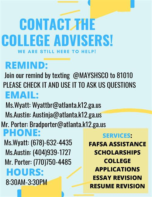 CONTACT THE COLLEGE ADVISERS!