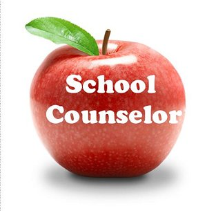 red apple with white letters spelling school counselor