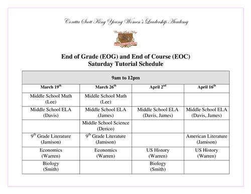 EOCT Tutorial Schedule