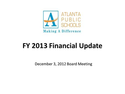 December 3, 2012 Financial Update