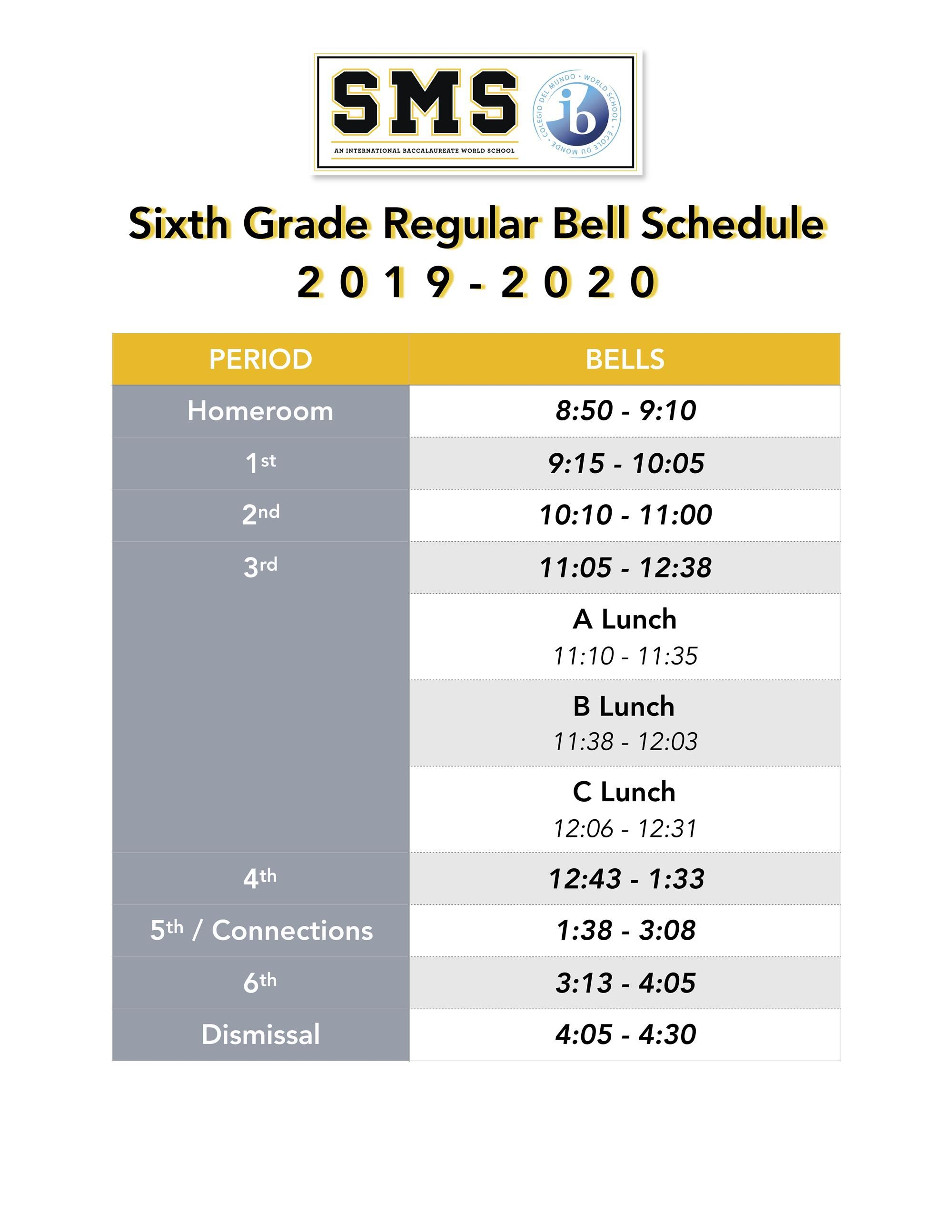 6th grade regular bells, please contact main office for more info 404-802-5650