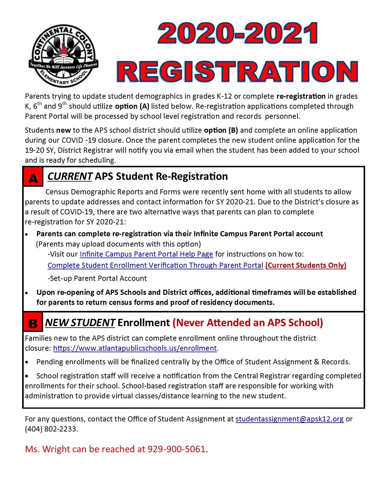 Re-registration instructions for parents to enroll their students