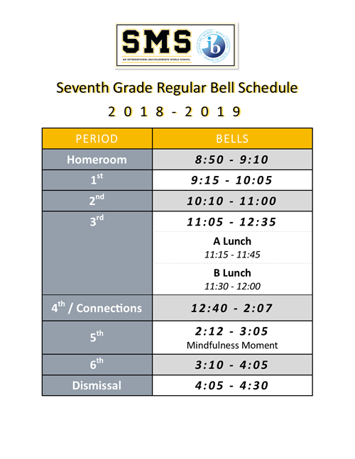 7th Grade Regular Bell Schedule 1819