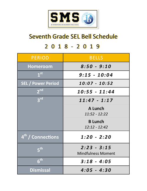7th Grade SEL Bell Schedule 1819