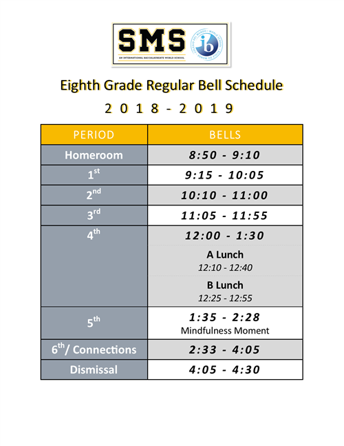8th Grade Regular Bell Schedule 1819