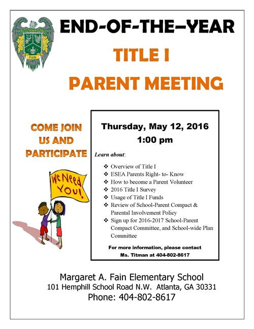 TitleI Parent Meeting, May 12 @1pm