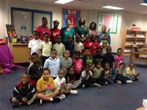 Fain pre-k and kindergarten students received books for summer reading donated by the Jump Start organization