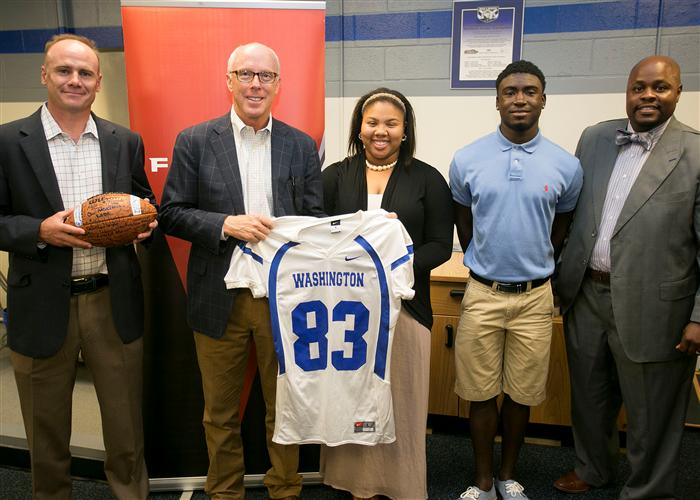 8/26 Atlanta Falcons President and CEO Rich McKay visits new APS Athletic Training Facility at Booker T. Washington High School