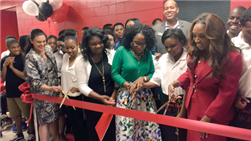 5/18 APS Ribbon Cutting for Therrell High School's Café 3099